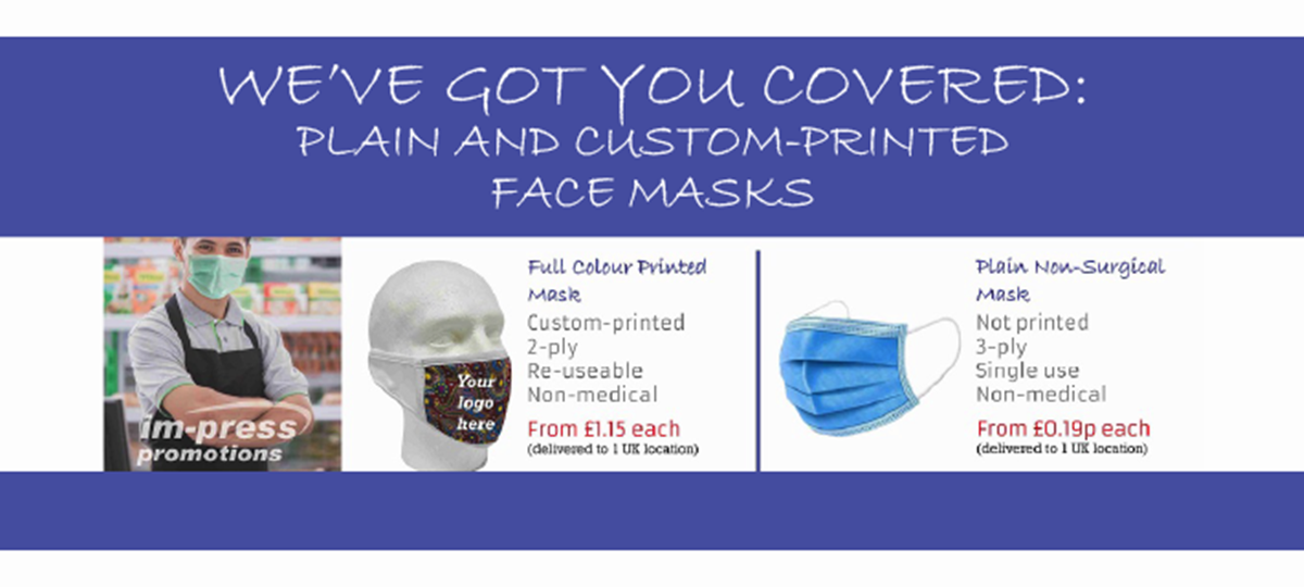 Offer: Custom printed and plain non-medical face masks from IM-Press Promotions by Im-Press Promotions Ayr Ltd